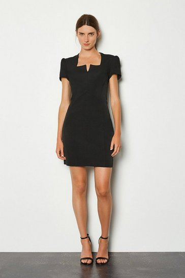 Black Notch Neck Sleeved Short Dress