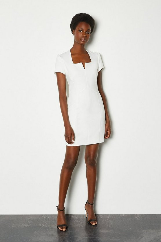Ivory Notch Neck Sleeved Short Dress