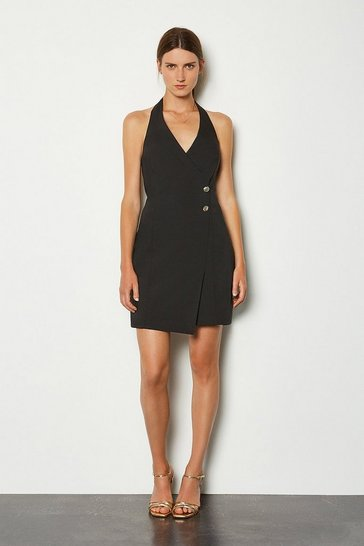 Black Button Detail Halter Neck Dress