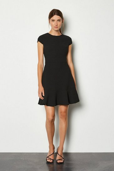 Black Top Stitch Cap Sleeve Flippy Hem Dress