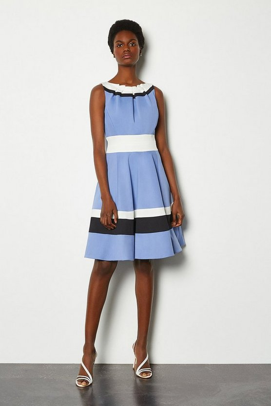 Blue Colour Blocked Full Skirt Cotton Sateen Dress