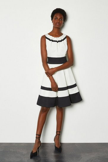 Mono Colour Blocked Full Skirt Cotton Sateen Dress
