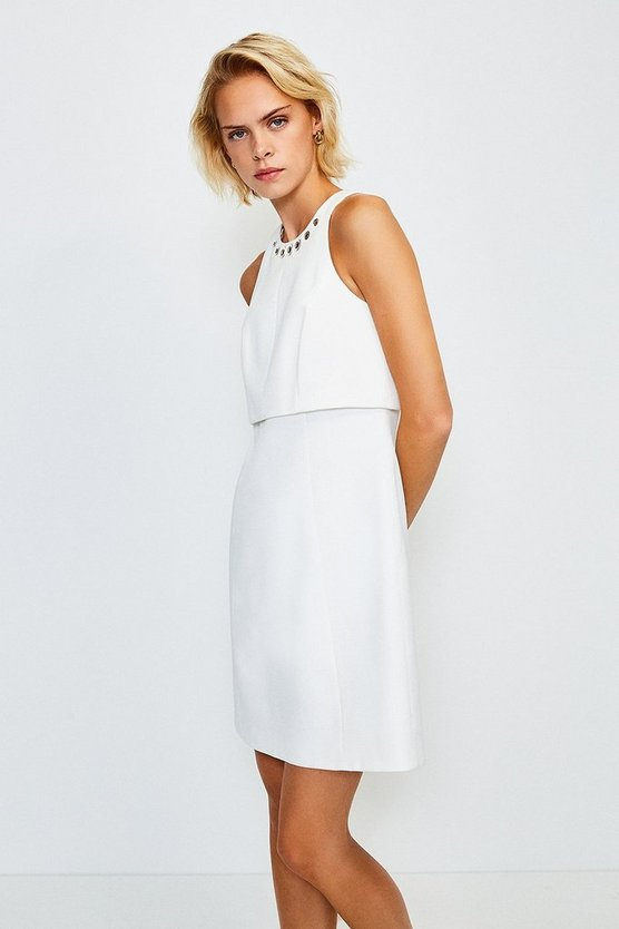 Ivory Eyelet Pique Shelf Dress