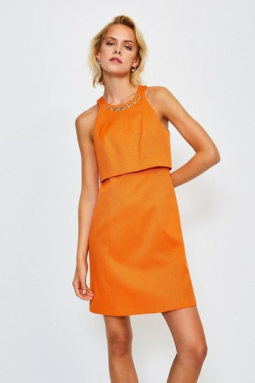 Orange Eyelet Pique Shelf Dress