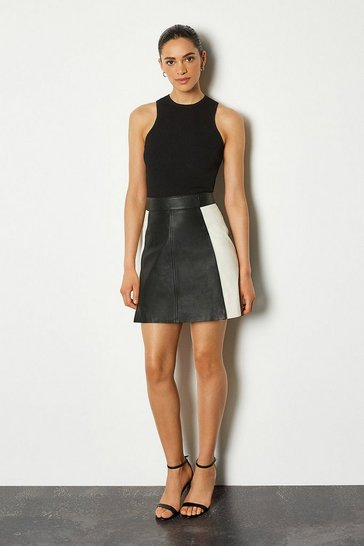 Blackwhite Leather Colour Block Mini Skirt