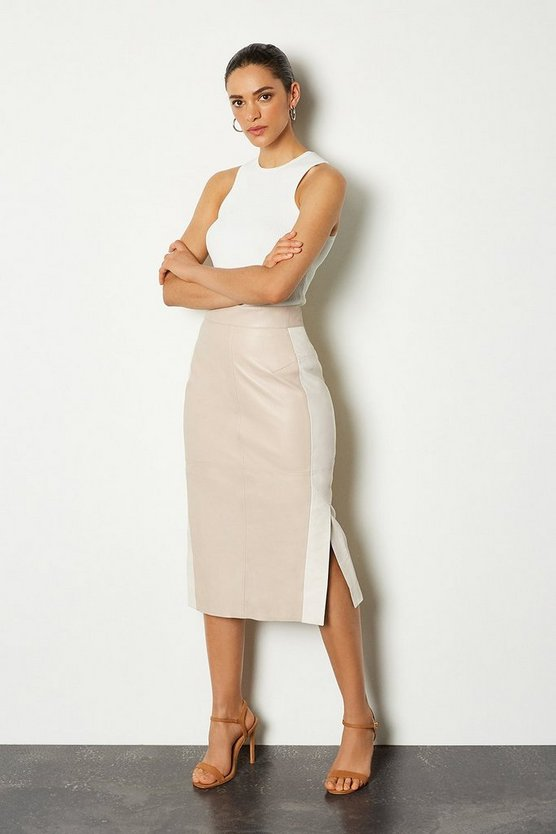 Nude Leather Colour Block Pencil Skirt