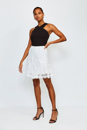 White Chemical Lace Ruffle Skirt