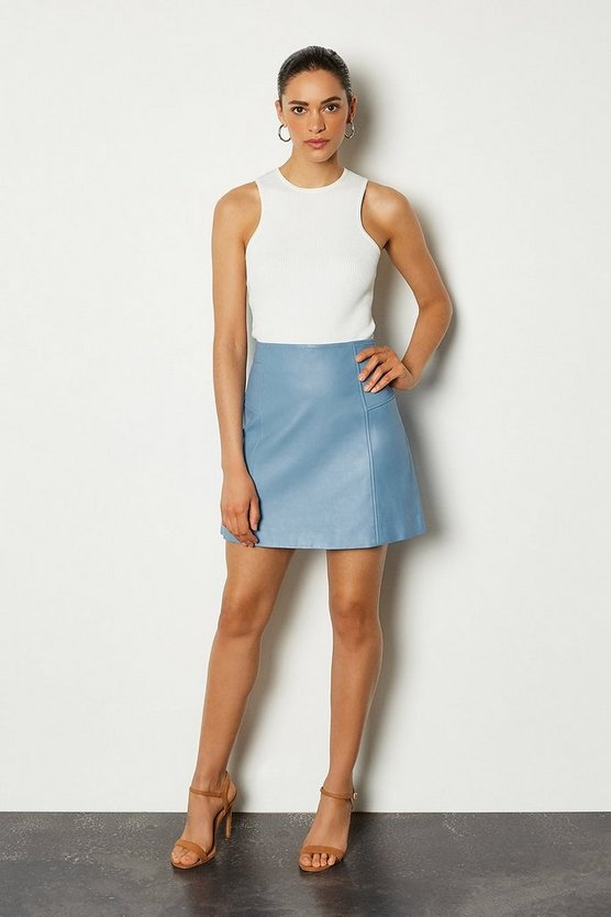 Pale blue Leather Mini Skirt