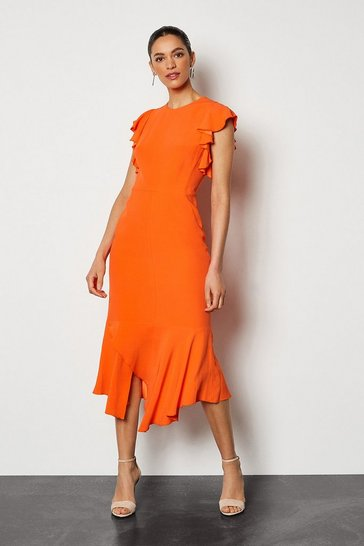 Orange Ruffle Trim Midi Dress