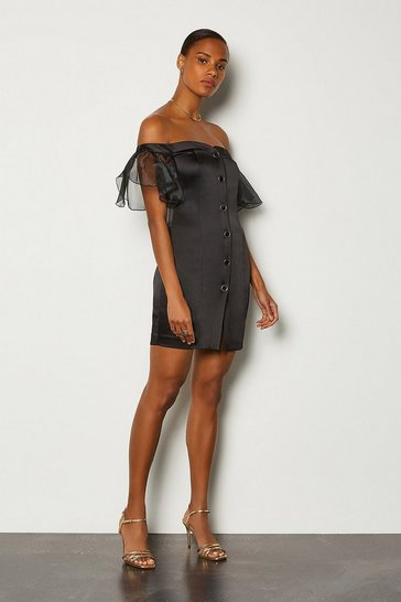Black Bardot Button Front Organza Sleeve Mini Dress
