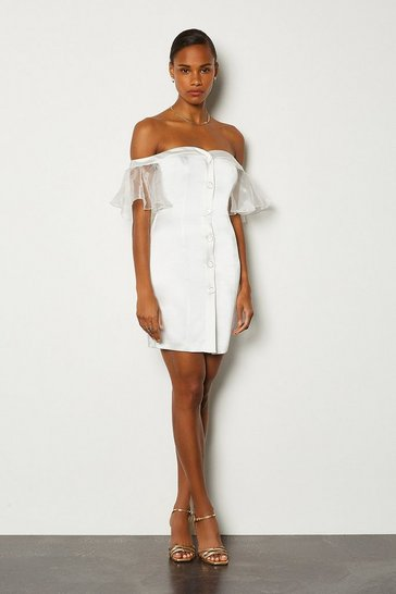 Ivory Bardot Button Front Organza Sleeve Mini Dress