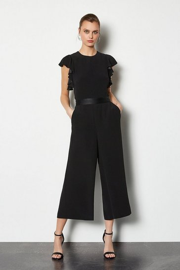 Black Frill Sleeve Crop Jumpsuit