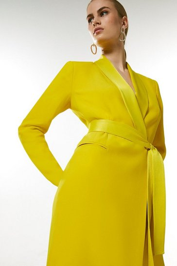 Lime Tuxedo Wrap Dress