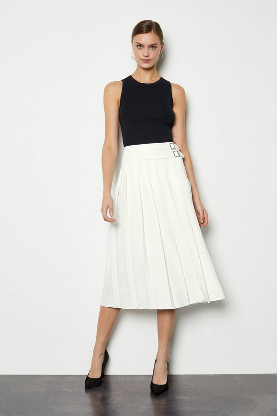 Ivory Wrap Pleat Skirt
