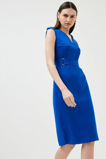 Blue Square D Ring Pencil Dress