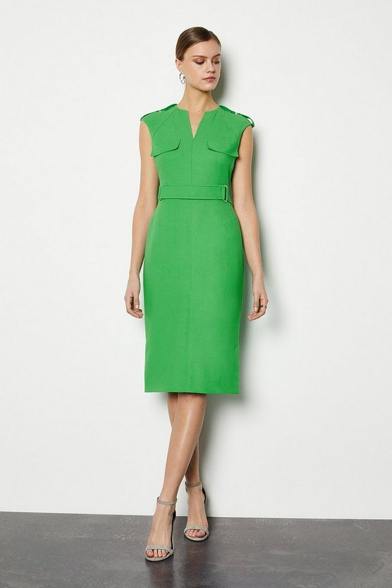 Green Square D Ring Pencil Dress