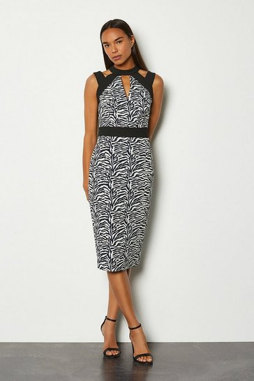 Blackwhite Zebra Jacquard Cut Out Pencil Dress