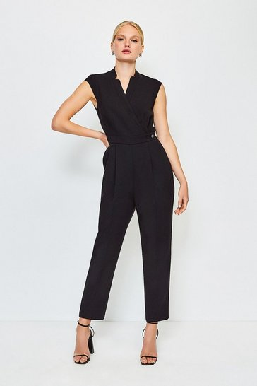 Black Wrap Collar Sleeveless Jumpsuit