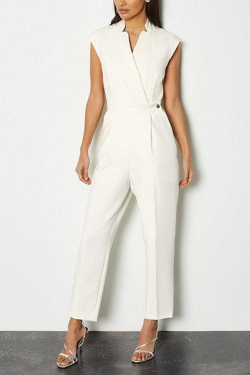 Ivory Wrap Collar Sleeveless Jumpsuit