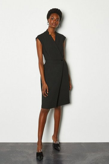 Black Collar Wrap Sleeveless Midi Dress