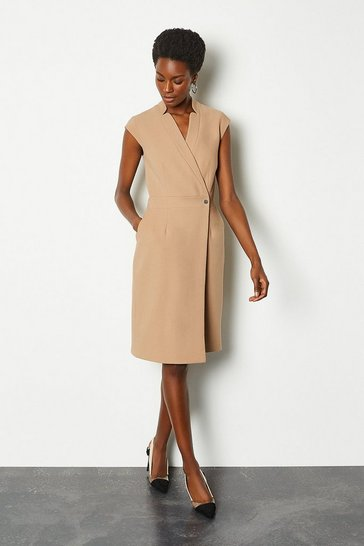 Camel Collar Wrap Sleeveless Midi Dress
