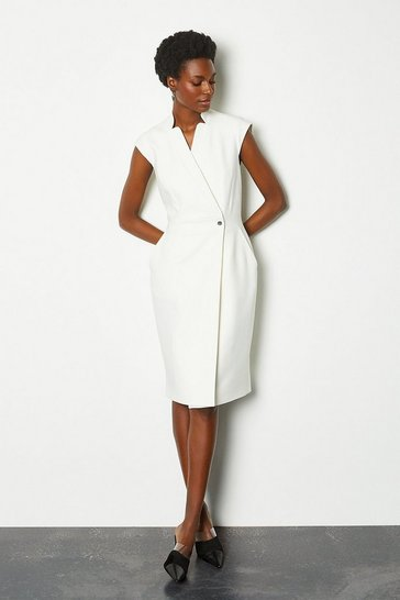 Ivory Collar Wrap Sleeveless Midi Dress