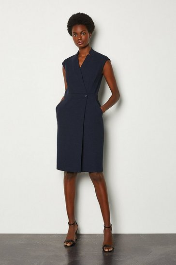 Navy Collar Wrap Sleeveless Midi Dress