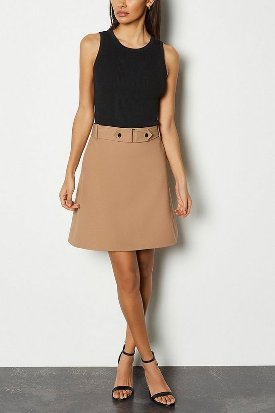 Camel Cinch Waist A-Line Skirt