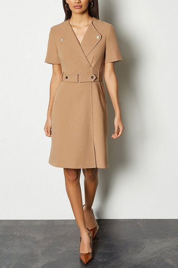 Camel Cinch Waist Short Sleeve Belted Dress