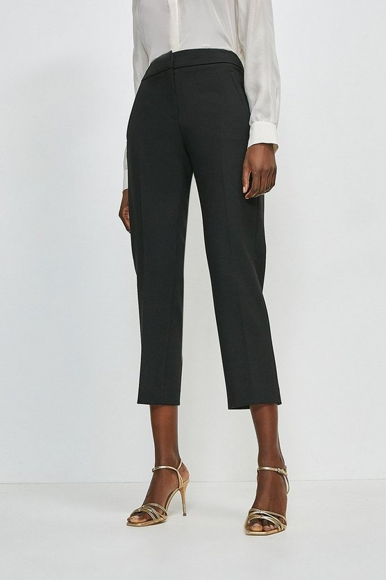 Black Compact Stretch Tailored Capri Trousers