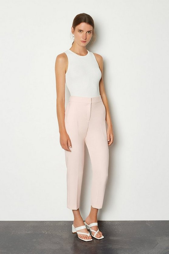 Blush Compact Stretch Tailored Capri Trousers