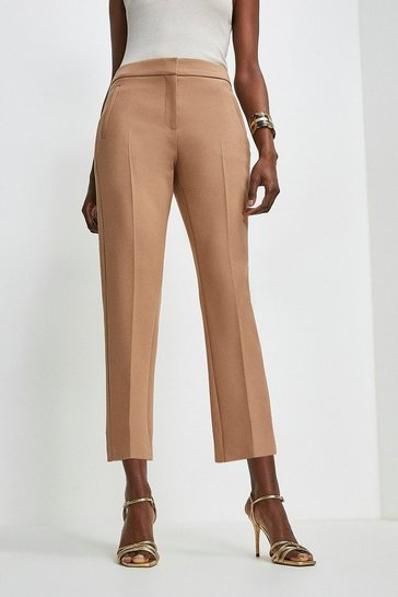 Camel Compact Stretch Tailored Capri Trousers