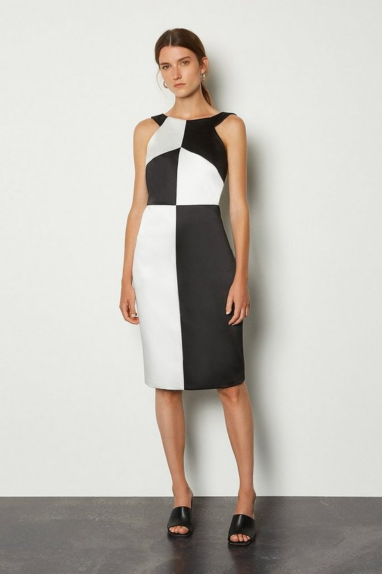 Mono Halter Neck Colour Block Pencil Dress