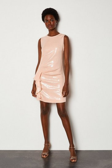 Blush Ruffle Side Sequin Sleeveless Short Dress