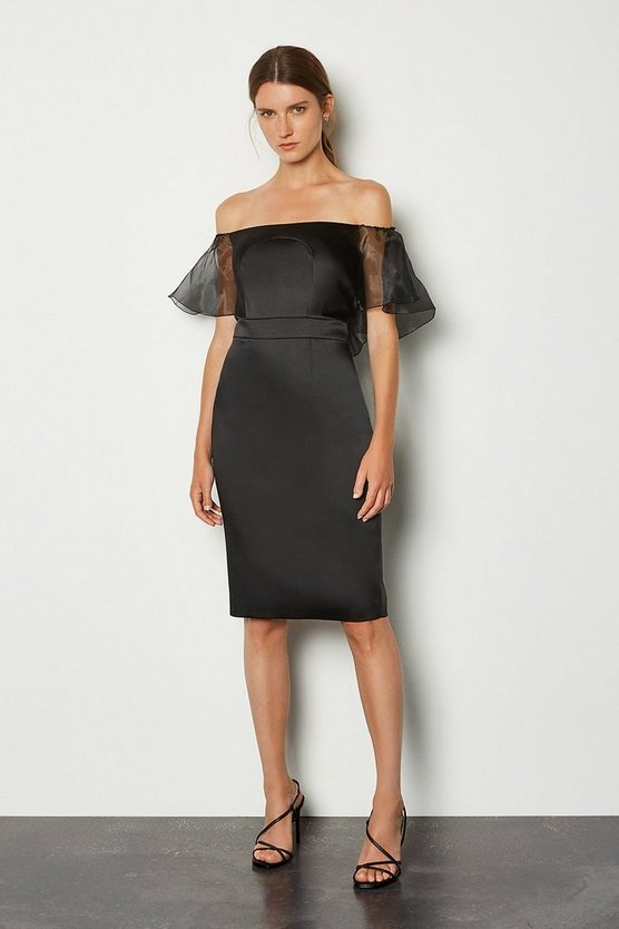 Black Bardot Cut Out Organza Sleeve Pencil Dress