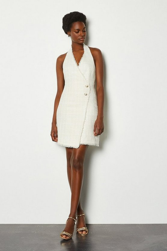 Ivory Sparkle Tweed Button Halter Dress