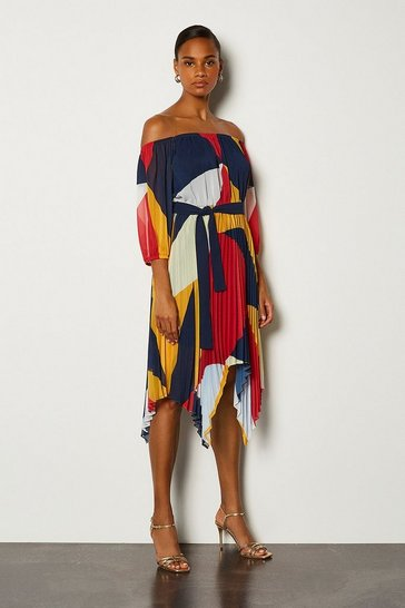 Orange Colour Block Long Sleeve Midi Dress