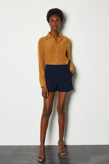 Navy Safari Cotton Sateen Short