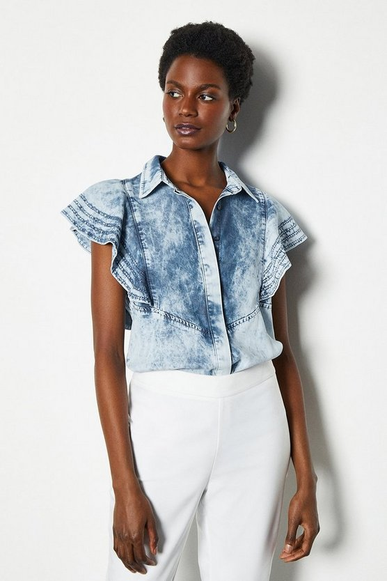 Blue Soft Acid Wash Frill Sleeve Shirt