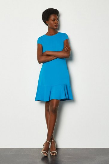 Blue Topstitch Cap Sleeve Flippy Hem Dress