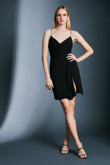 Black Strappy Wrap Bodice Ruffle Skirt Dress