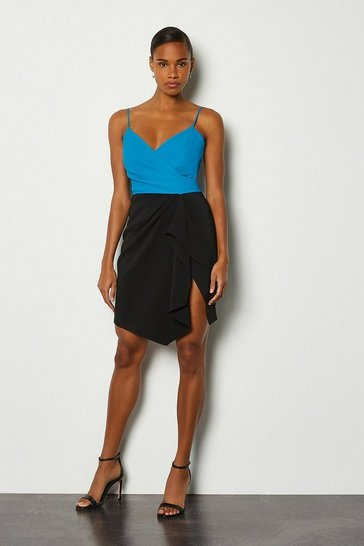 Blue Strappy Wrap Bodice Ruffle Skirt Dress
