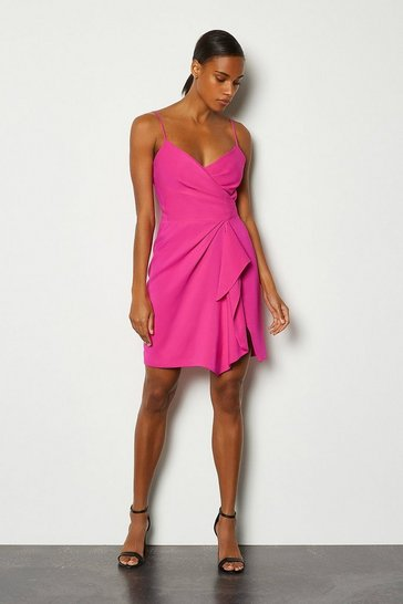 Pink Strappy Wrap Bodice Ruffle Skirt Dress