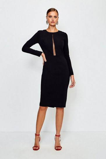 Black Long Sleeve Power Mesh Insert Pencil Dress