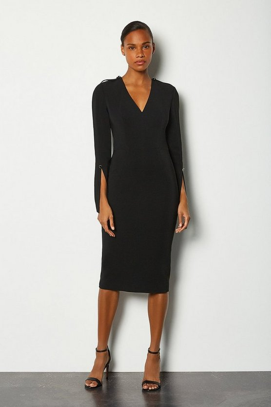 Black Long Sleeve Deep V Neck Pencil Dress