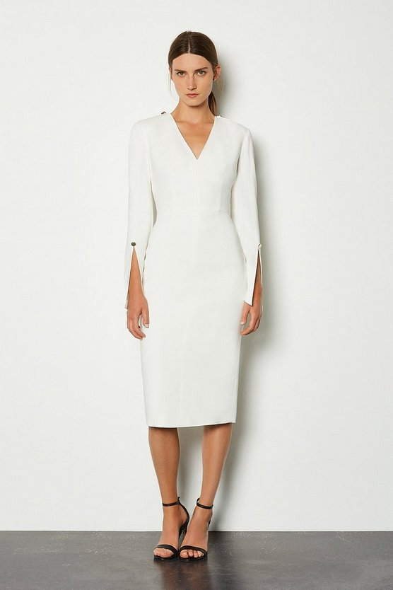 Ivory Long Sleeve Deep V Neck Pencil Dress
