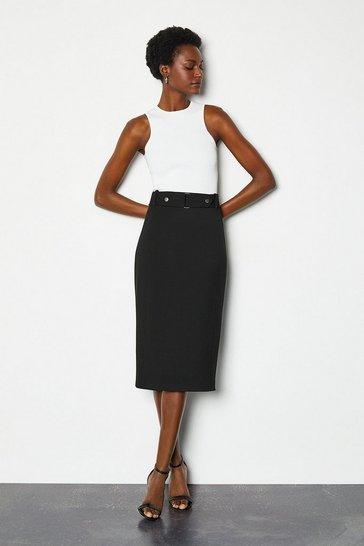 Black Cinch Waist Pencil Skirt