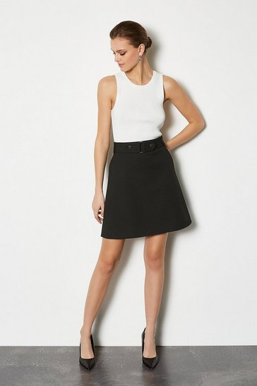 Black Cinch Waist A-Line Skirt