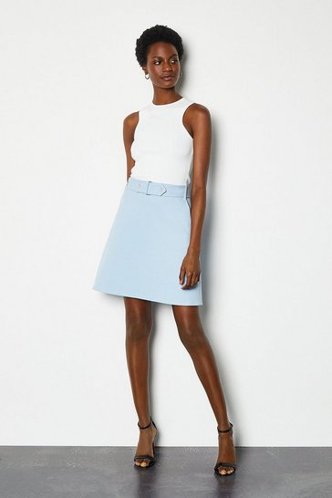 Pale blue Cinch Waist A-Line Skirt
