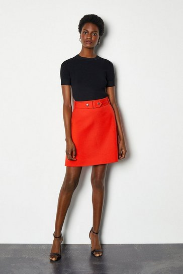 Red Cinch Waist A-Line Skirt